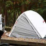 ソロツーリング、ソロキャンプにベストなサイズ! 収納サイズ45cmのテント付きコット ドッペルギャンガー・バイクツーリングコットテント - コットテント-6