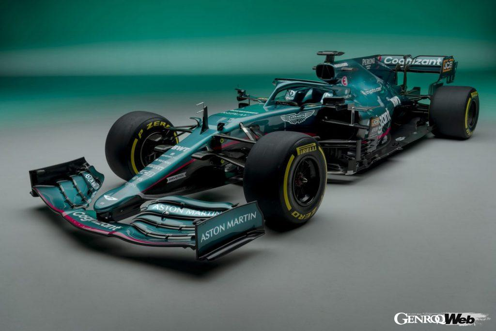 アストンマーティン コグニザント F1チームのマシン、AMR21。フロントビュー
